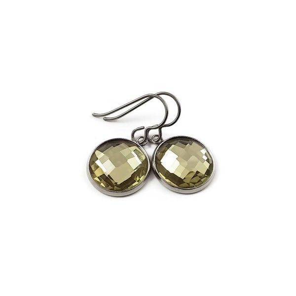 Citrine rhinestone faceted dangle earrings - Pure titanium, stainless steel and glass