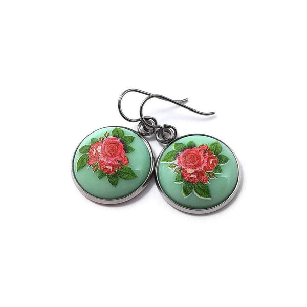 Vintage rose dangle earrings - Hypoallergenic pure titanium and resin