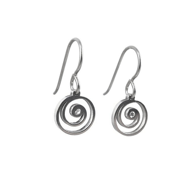 Mini vortex zirconia dangle earrings - Hypoallergenic pure titanium and stainless steel