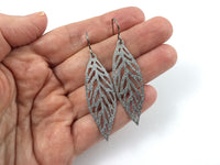 Silver glitter leaf dangle earrings - Pure titanium and stainless steel