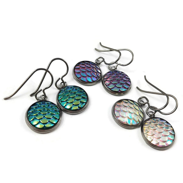 Mermaid dangle earrings - Hypoallergenic resin, pure titanium and stainless steel