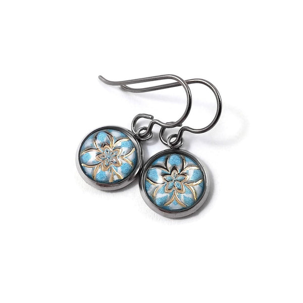 Aqua and gold winter flower dangle earrings - Hypoallergenic pure titanium, stainless steel and acrylic jewelry
