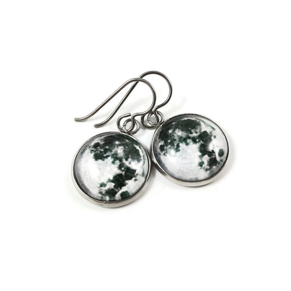 Moon dangle earrings - Hypoallergenic pure titanium, stainless steel and glass jewelry