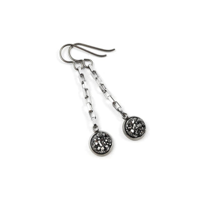 Druzy silver chain dangle earrings - Hypoallergenic pure titanium and stainless steel