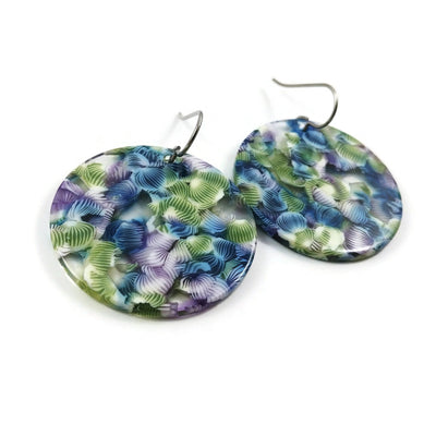 Blue and green tropical round dangle earrings - Hypoallergenic pure titanium and acrylic earrings