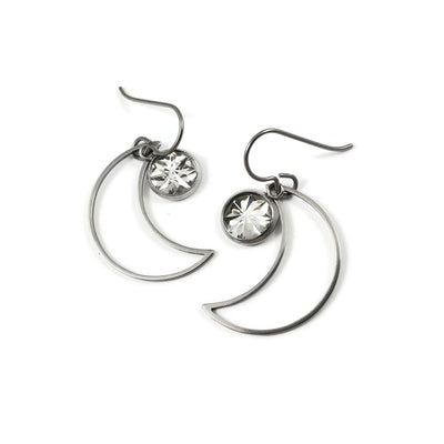 Moon and faceted charm dangle earrings - Hypoallergenic pure titanium, acrylic and stainless steel