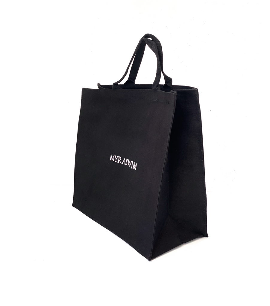Black Jute Beach Tote // Large