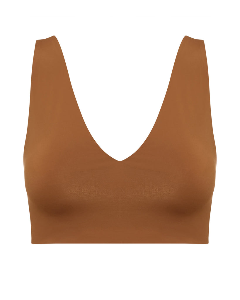 Brown Crop Medium Coverage Bikini Top | Myra Swim