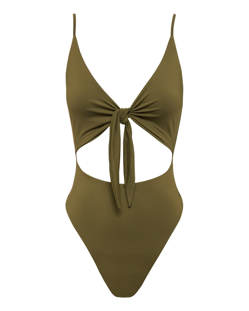 Army Green Tie Up Swimsuit | Myra Swim
