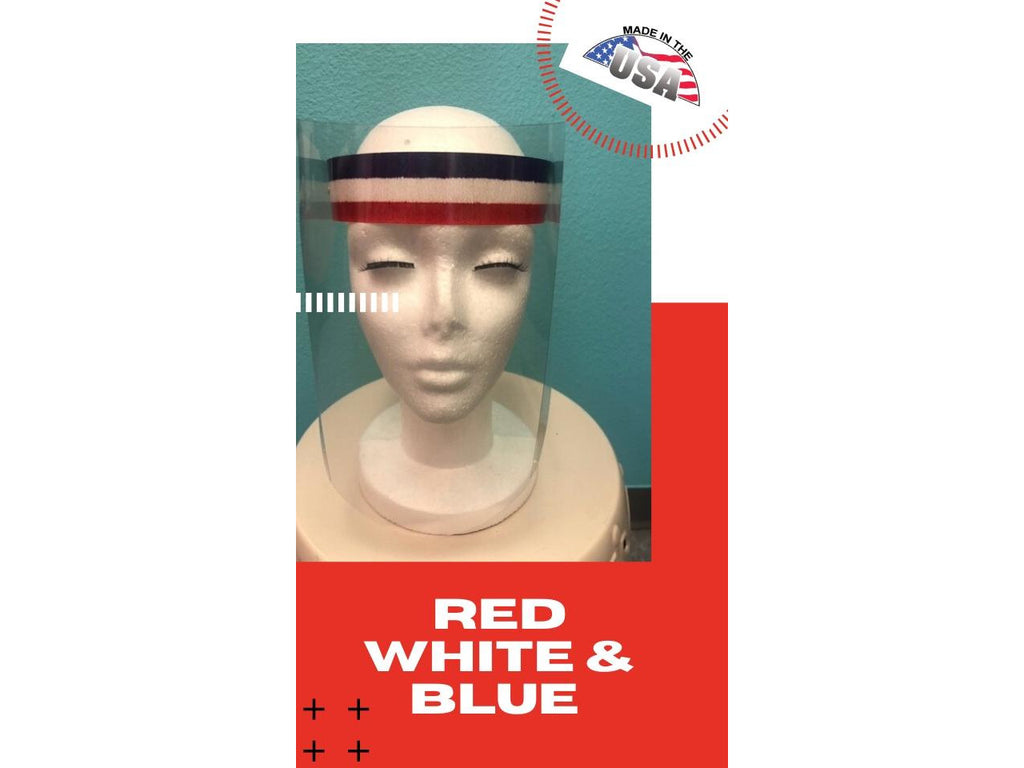 Adjustable Face Shield with Hinged Visor- RED, WHITE, BLUE