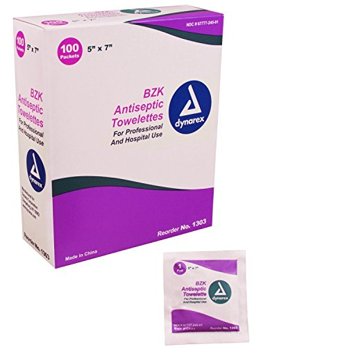 Box Of 100 BZK Antiseptic Towelettes