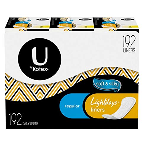 Kotex Lightdays Liners Regular, Soft and Silky, 192 Count