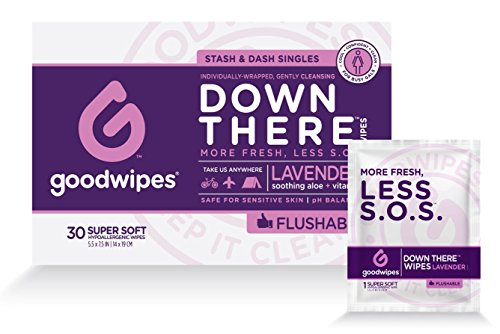 Goodwipes Down There Feminine Flushable Wet Wipes Lavender - 30 Wipes