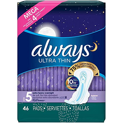 Always Ultra Thin Extra Heavy Overnight Pads With Wings