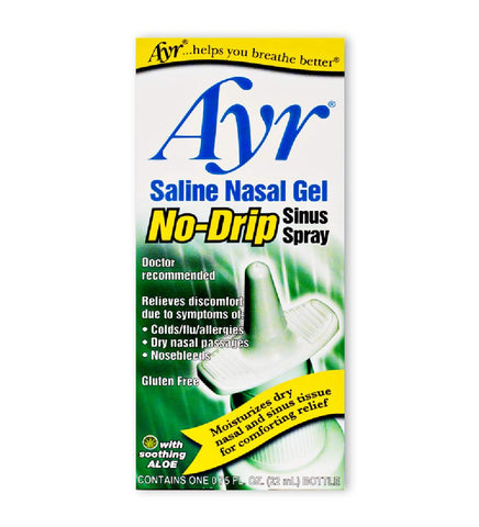 Ayr Saline Nasal Gel No-drip Sinus Spray With Soothing Aloe Vera, 0.75 Ounce Spray Bottle