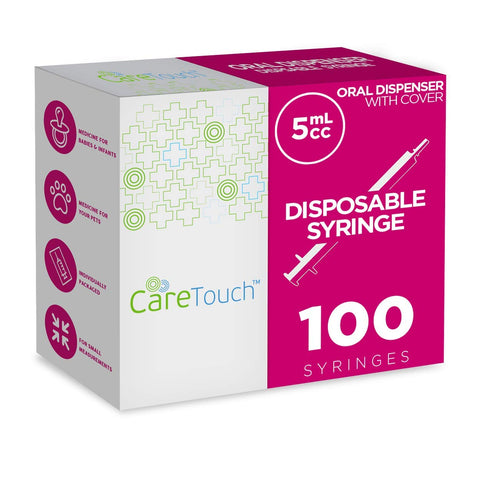 Care Touch Oral Syringes - 100 5ml Syringes with Covers