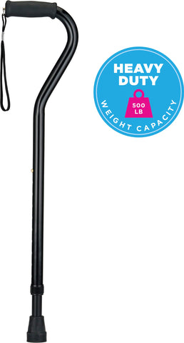 NOVA Heavy Duty Walking Cane with Offset Handle, 500 lb. Weight Capacity, Lightweight Adjustable Walking Stick with Carrying Strap, Black