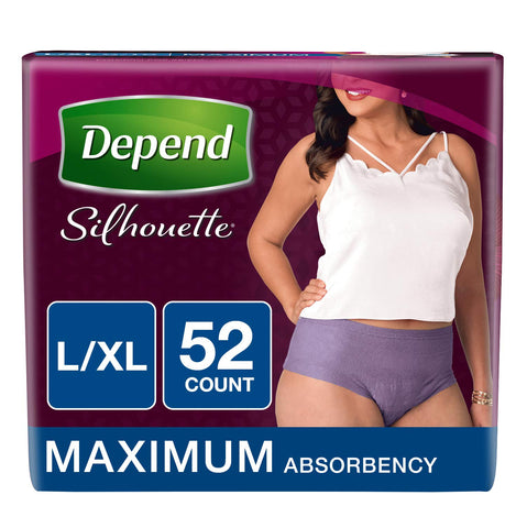 Depend Silhouette Incontinence Underwear for Women, Maximum Absorbency, L/XL, Purple, 52 Count