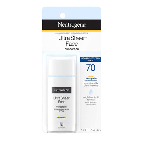 Neutrogena Ultra Sheer Liquid Daily Facial Sunscreen with Broad Spectrum SPF 70, Non-Comedogenic, Oil-free & PABA-Free Weightless Sun Protection, 1.4 fl. oz (Packaging May Vary)