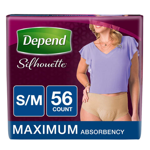 Depend Silhouette Incontinence Underwear for Women, Maximum Absorbency, S/M, Beige, 56 Count