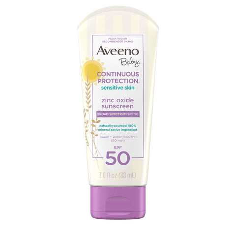 Aveeno Baby Continuous Protection Zinc Oxide Sunscreen Lotion for Sensitive Skin SPF 50, Travel-Size, 3 fl. Oz