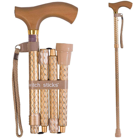 Switch Sticks Adjustable Folding Walking Cane and Walking Stick Adjusts from 32 to 37 inches, Engraved Pearl Gold