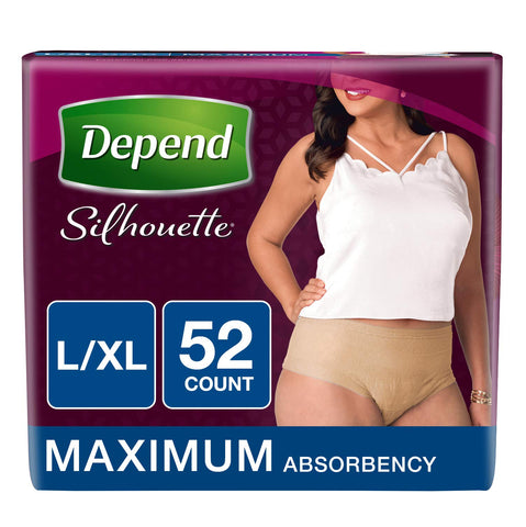 Depend Silhouette Incontinence Underwear for Women, Maximum Absorbency, L/XL, Beige, 52 Count