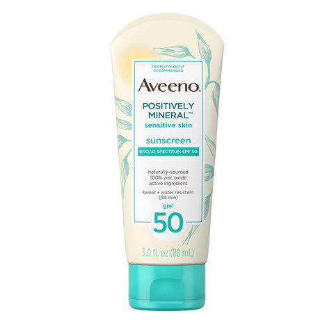Aveeno Positively Mineral Sensitive Skin Daily Sunscreen Lotion with SPF 50 & 100% Zinc Oxide, 3 fl. oz