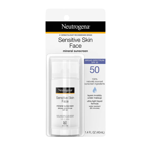 Neutrogena Face Sunscreen for Sensitive Skin from Naturally Sourced Ingredients with Zinc Oxide, Broad Spectrum SPF 50, 1.4 fl. Oz