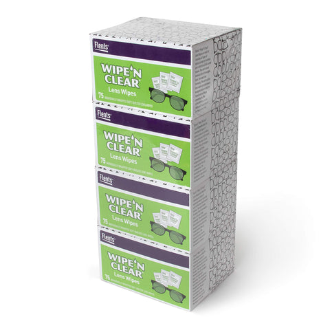Flents Wipe 'N Clear Lens Cleaning Wipes | 4 Portable Boxes Of 75 | 300 Count Bonus Pack