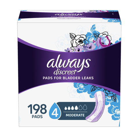 Always Discreet Incontinence Pads for Women, Moderate Absorbency, 198 Count, Regular Length