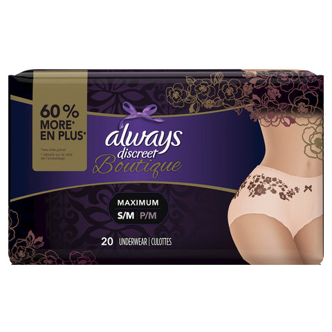 Always Discreet Disposable Incontinence & Postpartum Underwear for Women, Peach, S/M - 20 Count