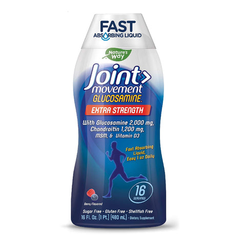 Nature's Way Joint Movement Glucosamine Fast Absorbing, 16 Day Supply, 16 Ounces (480 mL), Natural Berry (Packaging May Vary)