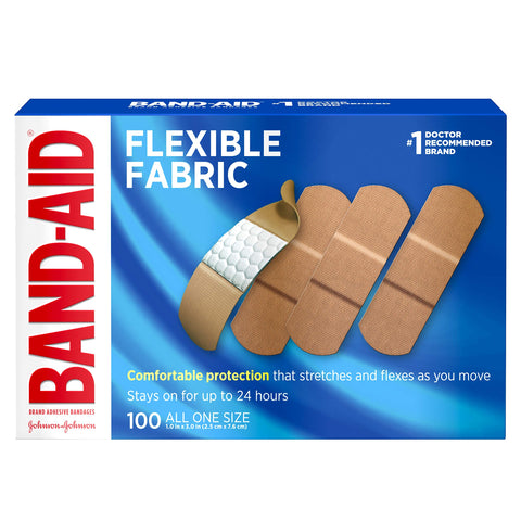 Band-Aid Brand Flexible Fabric Adhesive Bandages, All One Size, 100 Count
