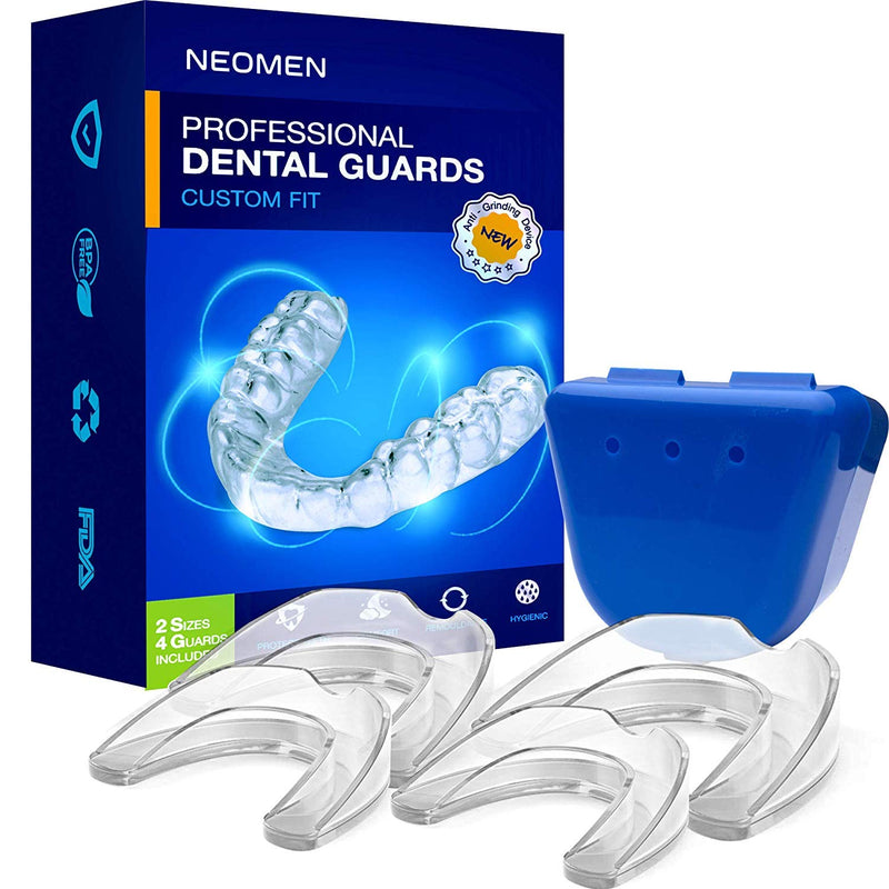 Neomen Professional Dental Guard - 2 Sizes, Pack of 4 - Upgraded Mouth Guard For Teeth Grinding, Anti Grinding Dental Night Guard, Stops Bruxism, Tmj & Eliminates Teeth Clenching