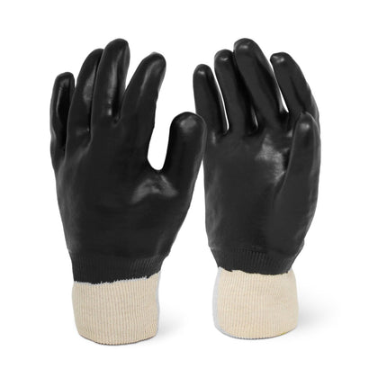 Knit Wrist Smooth Finish Black PVC Chemical Resistant Gloves