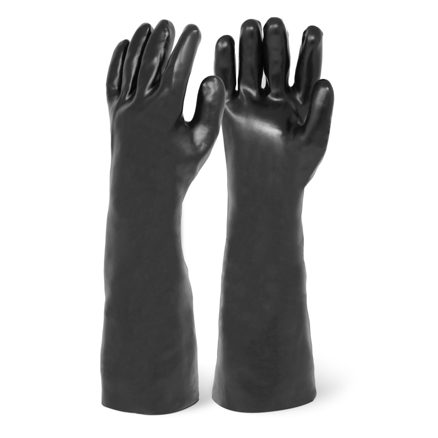 "18"" Smooth Finish Black PVC Chemical Resistant Gloves"