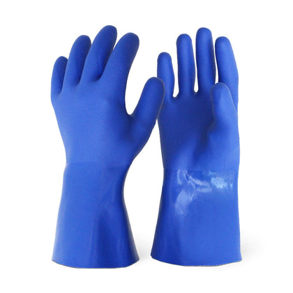 Sandy Finish Blue PVC Supported Glove