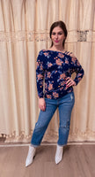 Navy Floral Cold Shoulder Top- SMALL