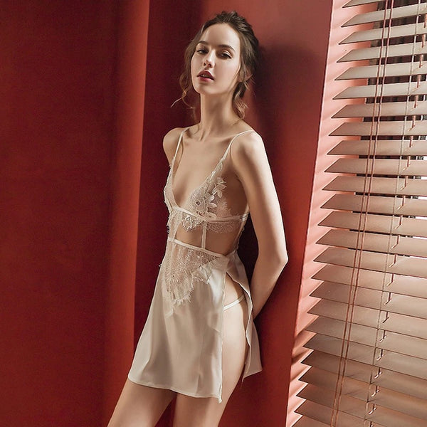 Avery Embroidered Satin Slip