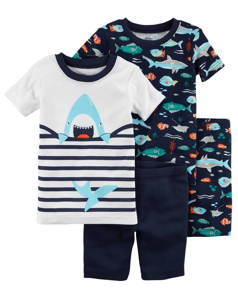 Carter's 4-Piece Neon Shark Snug Fit Cotton PJs