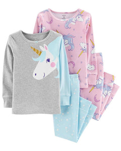 Carter's 4-Piece Glitter Unicorn Snug Fit Cotton PJs