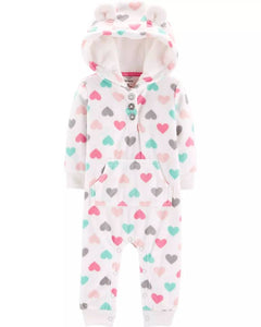 Carter's Heart Hooded Fleece Jumpsuit