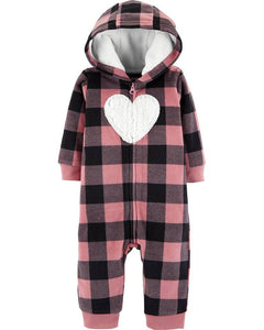 Carter's Plaid Hooded Fleece Jumpsuit