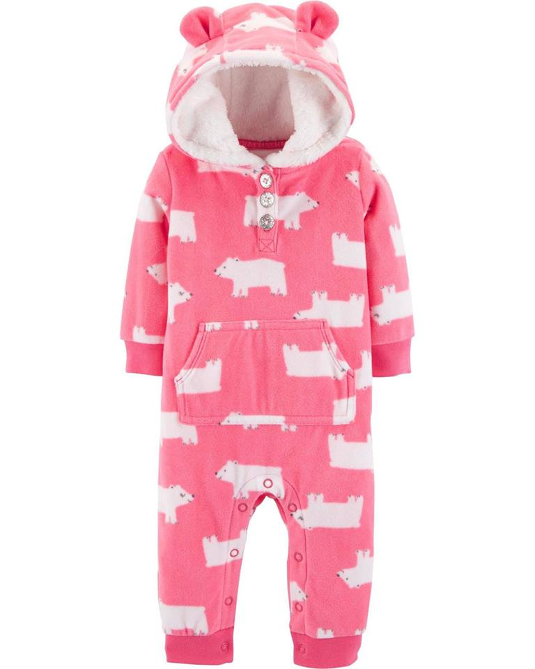 Carter's Polar Bear Hooded Fleece Jumpsuit