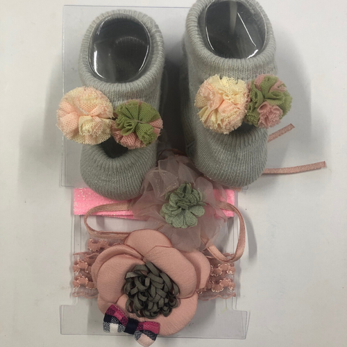 Baby Girl Grey Booties with Flower and hairbands