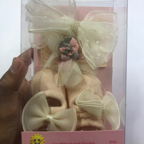 Baby Girl White Booties with Ribbon and hairbands