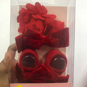 Baby Girl Red Booties with Ribbon and Flower hairbands