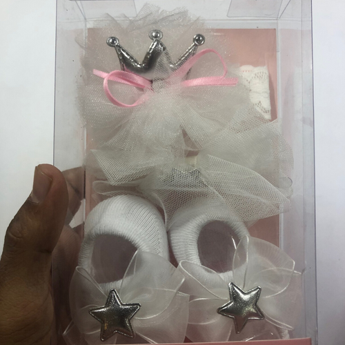 Baby Girl White Booties with Star and Crown hairbands
