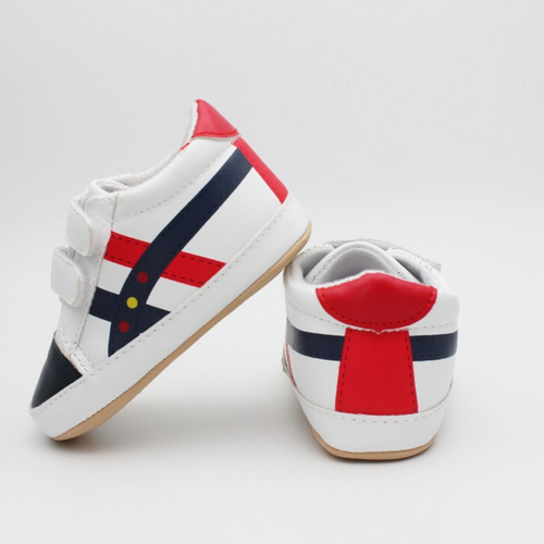 Baby Boy Shoes (White with Stripes)